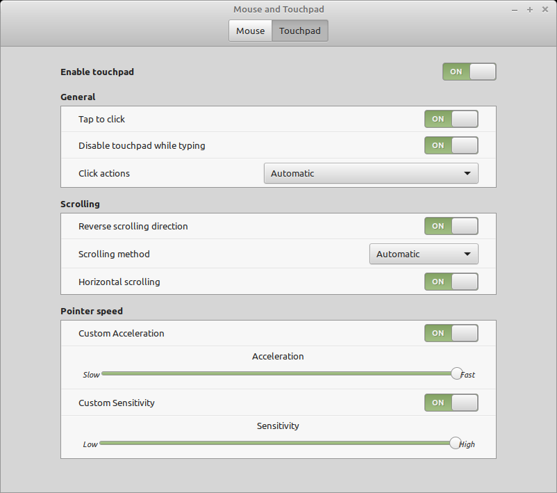 Screenshot of mint touchpad settings with customisations
